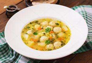 суп куриный с фрикадельками для диетического питания