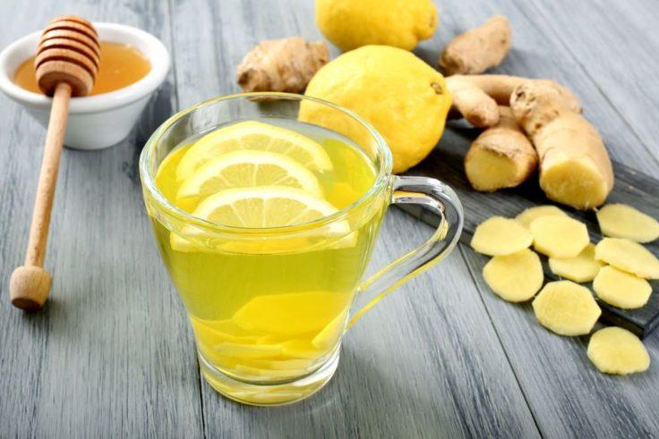 Чай с медом, лимоном, чесноком. имбирем