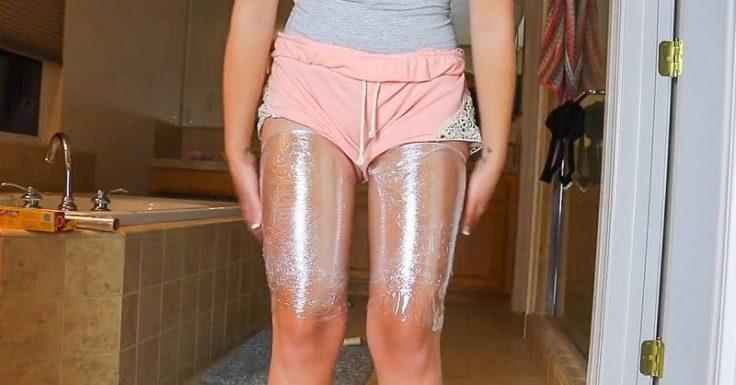 Обертывание с меновазином для похудения ног