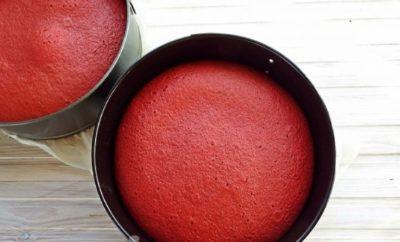 Фото коржей торта Красный бархат