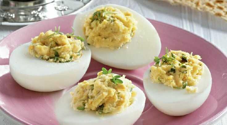Фаршированные яйца для белковой диеты Аткинса