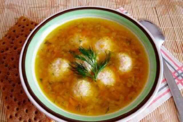 Диетический суп без картошки с фрикадельками