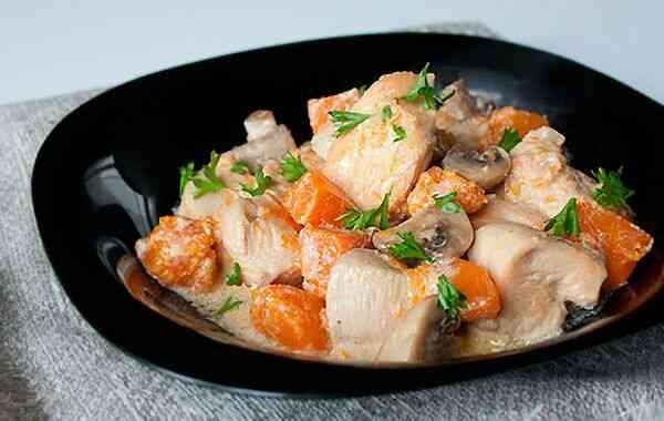 Рецепт куриной грудки с тыквой и грибами
